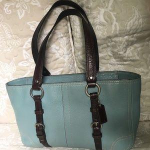 Coach D0851-F12339 light blue leather bag